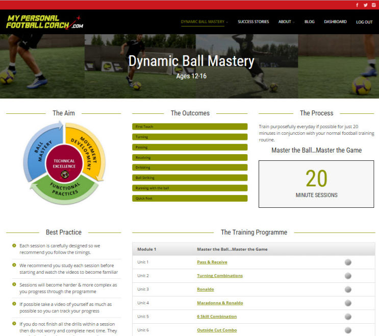 Elite Soccer Training Programme Dynamic Ball Mastery Homepage