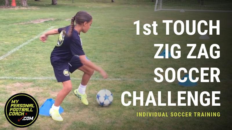 U8 - U12 Invidual Soccer Skills Training - 1st Touch Zig Zag Soccer Challenge