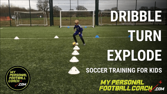 Kids Soccer Training Drill - Dribble Turn Explode