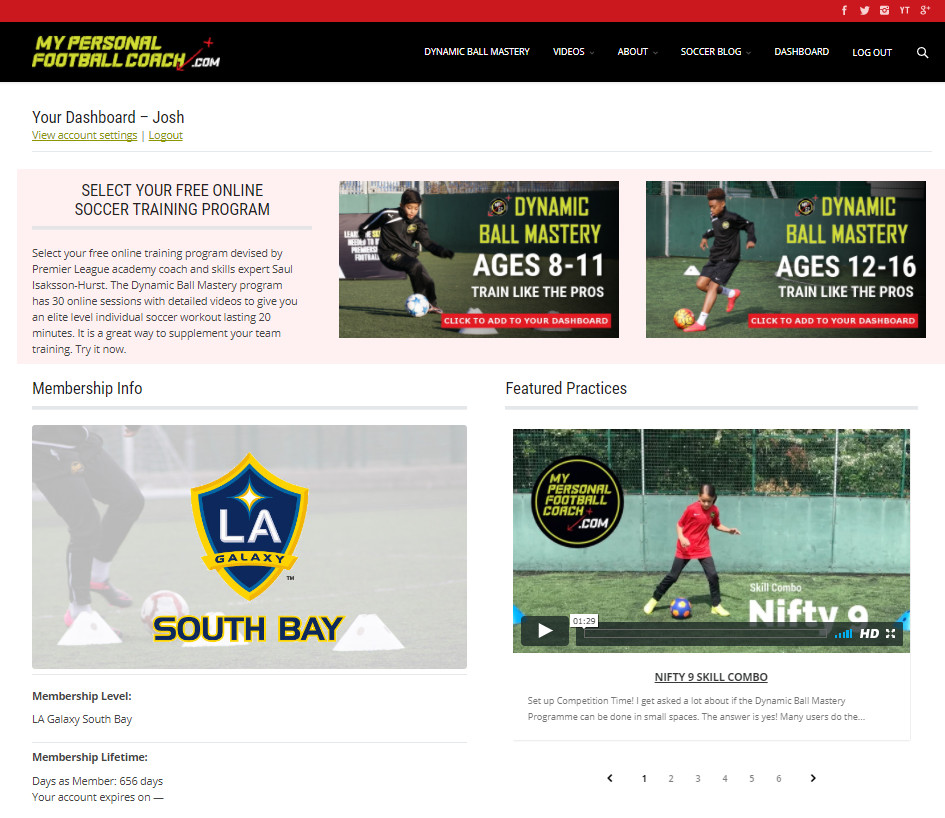 LA Galaxy South Bay Dashboard