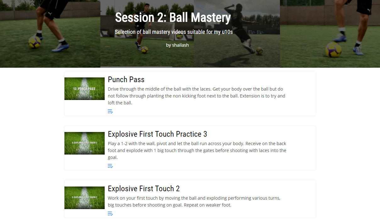 Personalised soccer training session