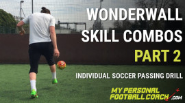 Individual soccer training drill practising against a wall