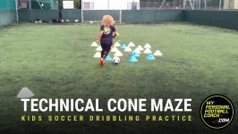 Kids Soccer Dribbling Drill - Technical Cone Maze for U8-U12