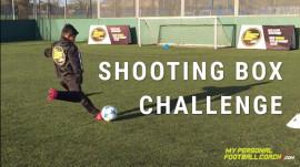 Soccer skills shooting box challenge